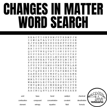 Changes In Matter Vocabulary Word Search