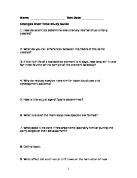 Changes Over Time Study Guide