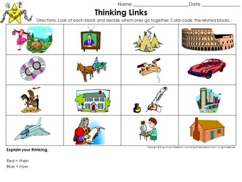 Changes Over Time: Then and Now Thinking Links Activity #1 - King Virtue