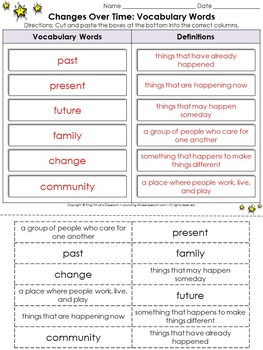 Changes Over Time: Vocabulary Words Cut and Paste Activity #1 - King Virtue