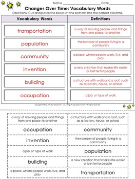 Changes Over Time: Vocabulary Words Cut and Paste Activity #2 - King Virtue