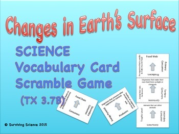 Changes in Earth's Surface: Vocabulary Scramble Card Game