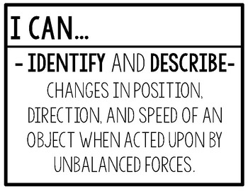 Changes in Force & Motion Objective, EQs, & Vocabulary