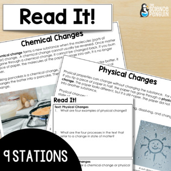 Physical Change and Chemical Change Stations: A Big Science Stations Unit