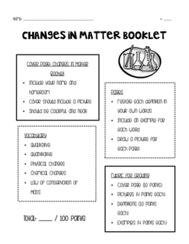 Changes in Matter Booklet