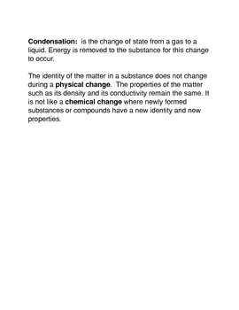 Changes in Matter: Common Core Reading and Writing Activity