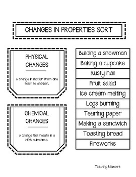 Changes in Matter Foldable and Sort