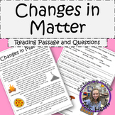 Changes in Matter Reading Passage with Questions