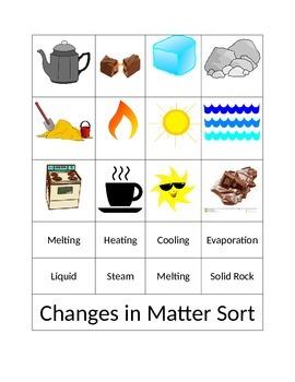 Changes in Matter- Sort Activity
