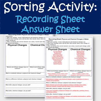 Changes in Matter Sorting Activity PLUS Recording Worksheet