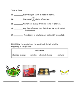Changes in Matter Test (second grade)