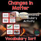 Changes in Matter Vocabulary Sort