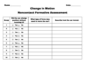 Changes in Motion Non contact Formative Assessment