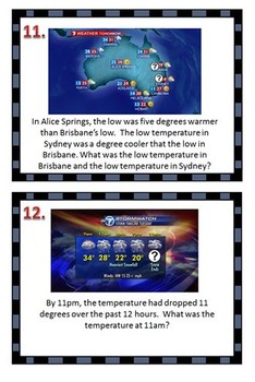 Changes in Temperature- Higher Level Thinking Story Problems