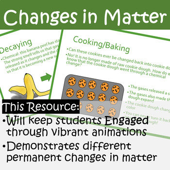 Changes of Matter PowerPoint INCLUDED Note Taking Sheet