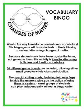 Changes of Matter Vocabulary Bingo