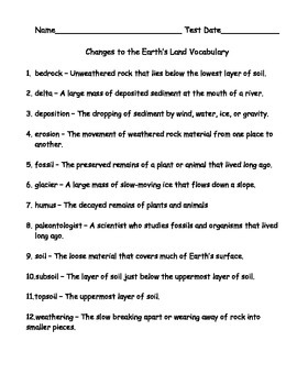 Changes to Earth's Land Vocabulary, Assessment, and Answer Key