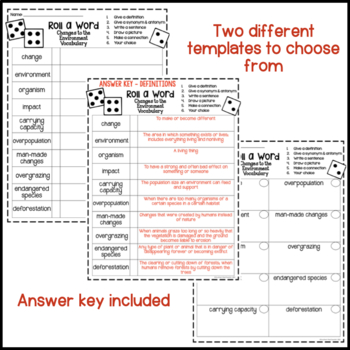 Changes to the Environment Fun Interactive Vocabulary Dice Activity