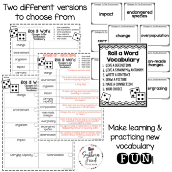 Changes to the Environment Fun Interactive Vocabulary Dice Activity EDITABLE