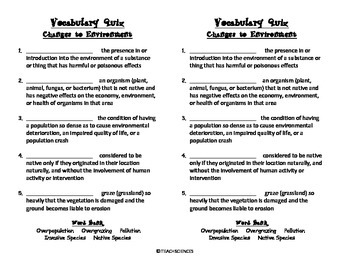 Changes to the Environment Vocab Pack