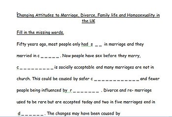 Changing Attitudes to Marriage