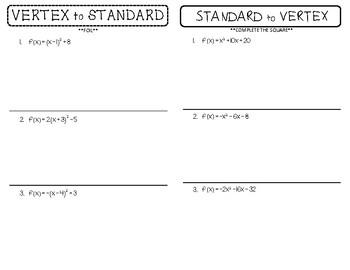 Changing Between Vertex Form & Standard Form