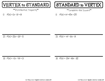 Changing Between Vertex Form & Standard Form (GSE Algebra 1)
