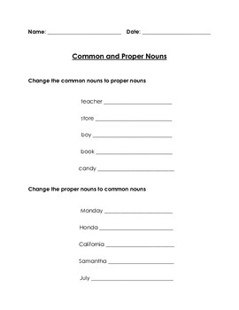 Changing Common and Proper Nouns