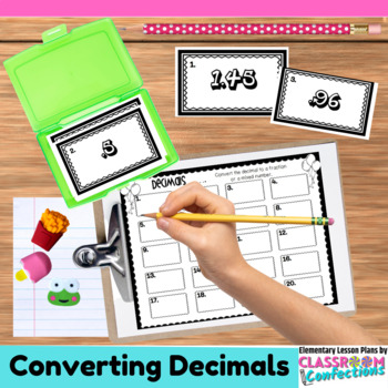4th Grade Math: Converting Decimals to Fractions Task Cards