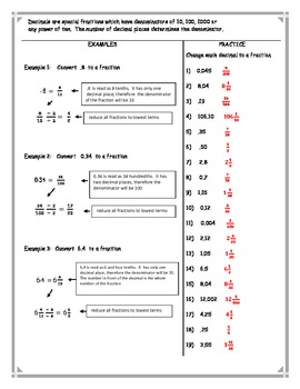 Changing Decimals to Fractions Worksheet