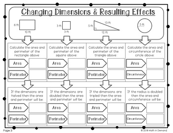 Changing Dimensions and Resulting Effects Worksheets