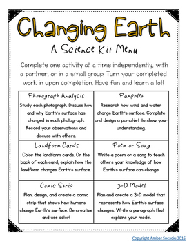 Fourth Grade NGSS - Changing Earth Activities