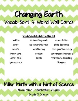 Changing Earth Vocab Sort and Word Wall Cards