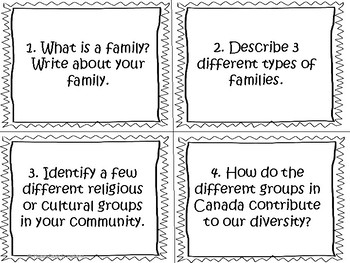 Changing Family and Community Traditions Task Cards and Worksheets