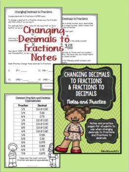 Changing Fractions to Decimals Notes and Practice