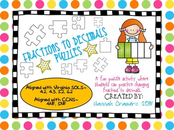 Changing Fractions to Decimals Puzzles