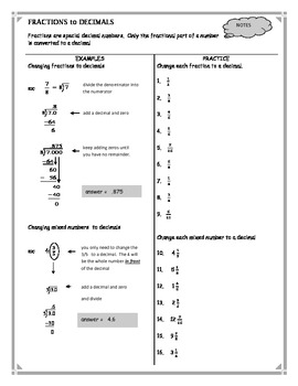 Changing Fractions to Decimals Worksheet