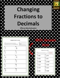 Changing Fractions to Decimals Worksheets (Three Worksheets)