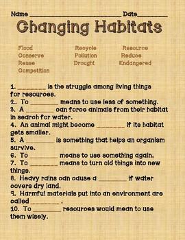 Changing Habitats Vocabulary Quiz