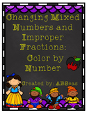 Changing Improper Fractions and Mixed Numbers Differentiated Color by Number