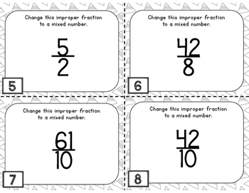Changing Improper Fractions to Mixed Numbers Task Cards
