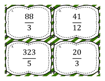 Changing Improper Fractions to Mixed Numbers Task Cards - 2nd set