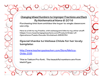 Changing Improper Fractions to Mixed Numbers and Back Again 20 Task Cards