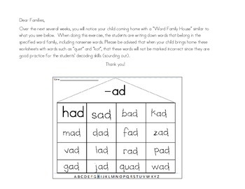 Changing Initial Sounds: Word Family House Packet