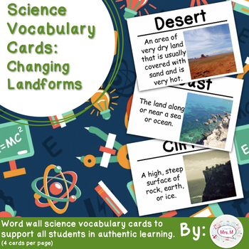 Changing Landforms Science Vocabulary Cards