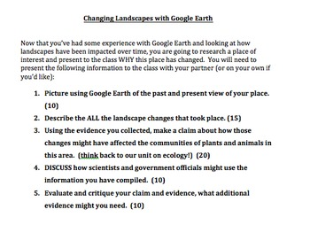 Changing Landscapes:  A Google Earth Exploration