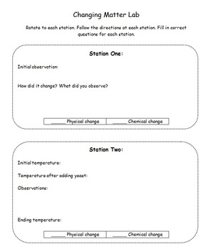 Changing Matter Lab & Notes - Physical and Chemical Changes
