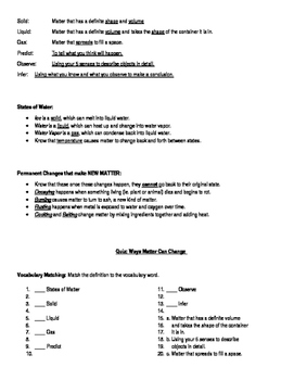 Changing Matter Study Guide and Quiz