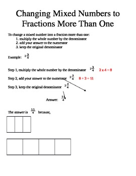 Changing Mixed Numbers to Fractions More Than One