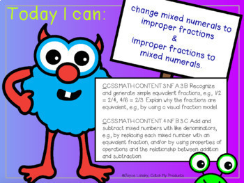 Equivalent Fractions Lessons :  Mixed Numbers and Improper Fractions
